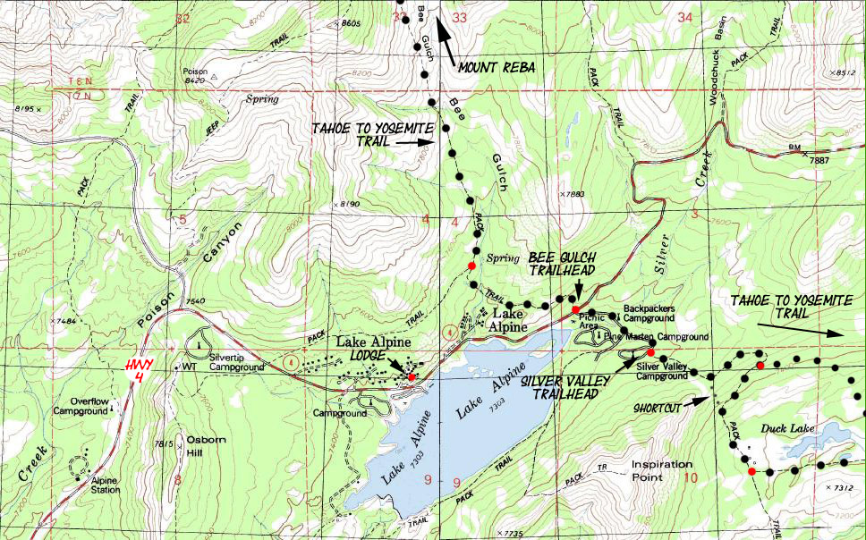 Duck Lake Ebbetts Pass Scenic Byway - Duck lake map